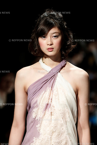 A model wearing Hong Kong fashion designs walks down the runway during a special Fashion Hong Kong 2017 Spring/Summer Collection show as part of Amazon Fashion Week Tokyo on October 17, 2016, Tokyo, Japan. The Hong Kong Trade Development Council organised the show to introduce the work of three fashion designers (Chailie Ho, Vickie Au and Polly Ho) and promote Hong Kong fashion in Tokyo. Amazon Fashion Week Tokyo runs until October 23. (Photo by Rodrigo Reyes Marin/AFLO)