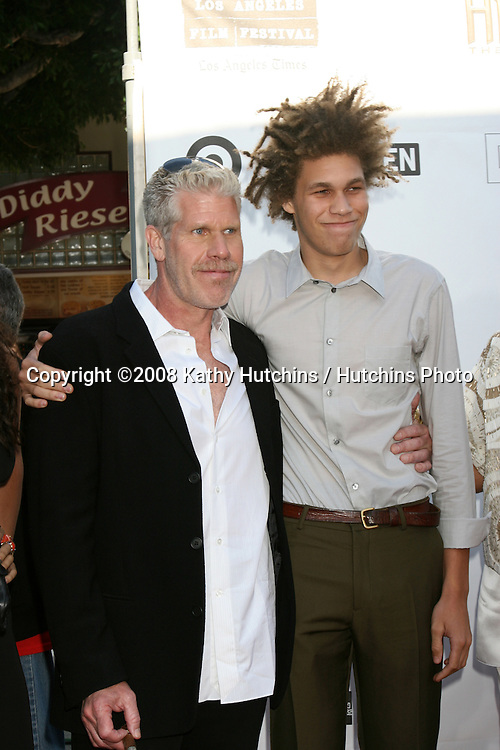 """Ron Perlman and son at the Premiere of  """"Hellboy 2"""" at the Village Theater in Westwood, CA on.June 28, 2008.©2008 Kathy Hutchins / Hutchins Photo ."""