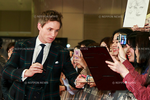 Actor Eddie Redmayne signs autographs  for fans during the Japan premiere of The Danish Girl on March 9, 2016, Tokyo, Japan. Eddie Redmayne with his wife Hannah Bagshawe came to Japan to greet fans during the red carpet for the movie The Danish Girl. The film was nominated in four categories at the Academy Awards with Best Supporting Actress going to Alicia Vikander. Redmayne who won Best Actor at the Academy Awards in 2015 lost out this year in the Best Actor category to Leonardo DiCaprio. The film hits Japanese theaters on March 18. (Photo by Rodrigo Reyes Marin/NipponNews.net)