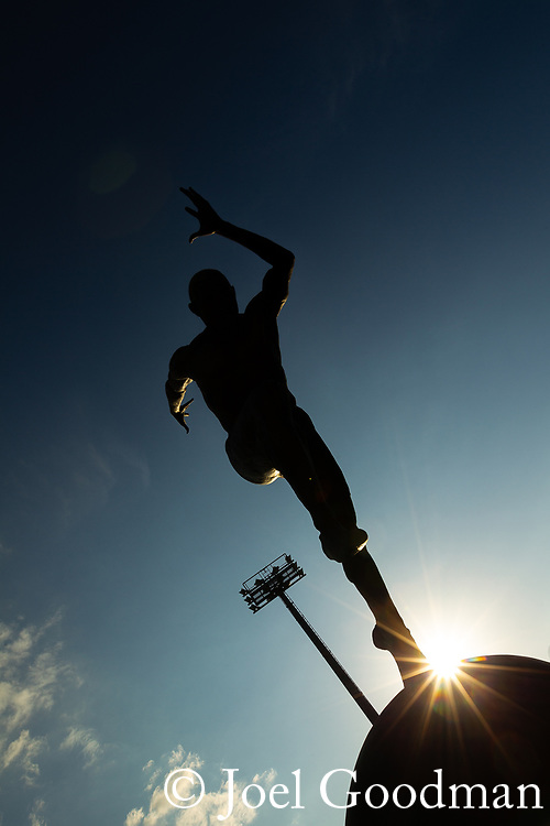 "© Joel Goodman - 07973 332324. Manchester, UK  30/04/2012. Colin Spofforth's bronze sculpture of an athlete , called "" The Runner "" , at SportCity at the City of Manchester Stadium on the Etihad Campus , home of Manchester City Football Club . Photo credit: Joel Goodman"
