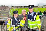 Sergeant Eileen O'Sullivan, Charlie Ankettell (Cork) and Sgt Jim Foley pictured at the Kerry v Cork Munster Final in Fitzgerald Stadium, Killarney on Saturday evening.