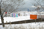 Amish clothesline in winter. Nippenose Valley, Bastress, PA.