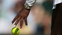 A close-up of Serena Williams' hands during her victory over Kristina Mladenovic (FRA) in their Ladies' Singles Third Round match<br /> <br /> Photographer Rob Newell/CameraSport<br /> <br /> Wimbledon Lawn Tennis Championships - Day 5 - Friday 6th July 2018 -  All England Lawn Tennis and Croquet Club - Wimbledon - London - England<br /> <br /> World Copyright &not;&copy; 2017 CameraSport. All rights reserved. 43 Linden Ave. Countesthorpe. Leicester. England. LE8 5PG - Tel: +44 (0) 116 277 4147 - admin@camerasport.com - www.camerasport.com