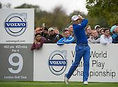 18.10.2014. The London Golf Club, Ash, England. The Volvo World Match Play Golf Championship.  Day 4 quarter final matches.  Henrik Stenson (SWE) ninth tee.