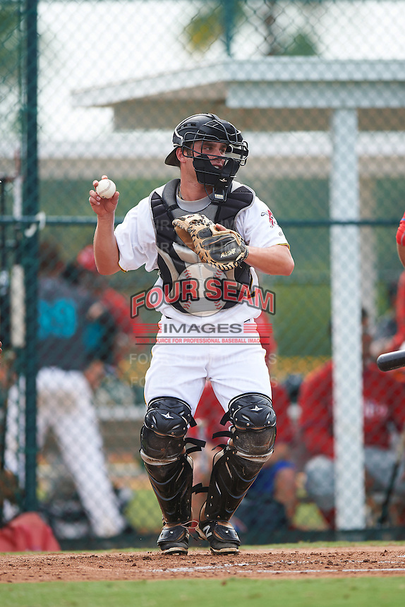 GCL Pirates catcher Boomer Synek (22) during a game against the GCL Phillies on August 6, 2016 at Pirate City in Bradenton, Florida.  GCL Phillies defeated the GCL Pirates 4-1.  (Mike Janes/Four Seam Images)
