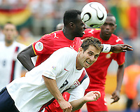 Carlos Bocanegra (3) of the USA heads the ball clear. Ghana defeated the USA 2-1 in their FIFA World Cup Group E match at Franken-Stadion, Nuremberg, Germany, June 22, 2006. Ghana advances to round of 16 and the USA is out of the tournament.