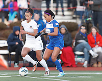 Boston Breakers forward Sydney Leroux (2) dribbles as Washington Spirit defender Kika Toulouse (3) defends. In a National Women's Soccer League Elite (NWSL) match, the Boston Breakers (blue) tied the Washington Spirit (white), 1-1, at Dilboy Stadium on April 14, 2012.