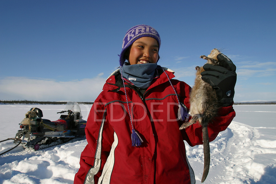 A young member of the Vuntut Gwitchin First Nation, Kristin Charlie, 11, holds a trapped muskrat near Old Crow, Yukon Territory, Canada.