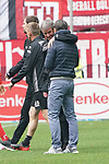 14.04.2019, Merkur Spielarena, Duesseldorf , GER, 1. FBL,  Fortuna Duesseldorf vs. FC Bayern Muenchen,<br />  <br /> DFL regulations prohibit any use of photographs as image sequences and/or quasi-video<br /> <br /> im Bild / picture shows: <br /> Niko Kovač Trainer / Headcoach (Bayern Muenchen), umarmt Friedhelm Funkel Trainer / Headcoach (Fortuna Duesseldorf), nach dem Spiel <br /> <br /> Foto © nordphoto / Meuter