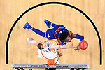 SAN ANTONIO, TX - MARCH 31: Devonte' Graham #4 of the Kansas Jayhawks shoots the ball against Donte DiVincenzo #10 of the Villanova Wildcats   in the 2018 NCAA Men's Final Four semifinal game at the Alamodome on March 31, 2018 in San Antonio, Texas.  (Photo by Jamie Schwaberow/NCAA Photos via Getty Images)