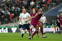 Harry Kane of Tottenham Hotspur and Vincent Kompany of Manchester City during Tottenham Hotspur vs Manchester City, Premier League Football at Wembley Stadium on 14th April 2018