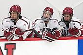 Greg Gozzo (Harvard - 13), Clay Anderson (Harvard - 5), Desmond Bergin (Harvard - 37) -  - The Harvard University Crimson defeated the visiting Colgate University Raiders 7-4 (EN) on Saturday, February 20, 2016, at Bright-Landry Hockey Center in Boston, Massachusetts.