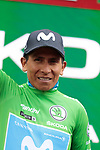 New race leader Nairo Quintana (COL) Movistar Team also retains the points Green Jersey at the end of Stage 9 of La Vuelta 2019 running 99.4km from Andorra la Vella to Cortals d'Encamp, Spain. 1st September 2019.<br /> Picture: Colin Flockton | Cyclefile<br /> <br /> All photos usage must carry mandatory copyright credit (© Cyclefile | Colin Flockton)