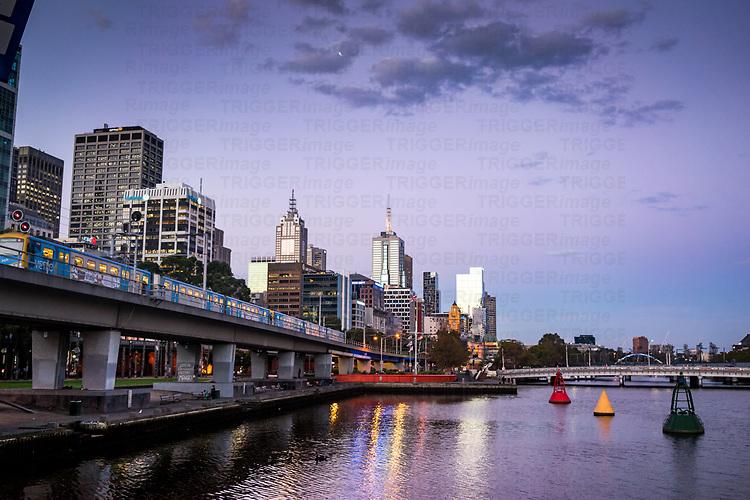 City scene from the Sea Life towards Queens Bridge over the river Yarra in Melbourne Australia