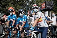 spanish national champion Alejandro Valverde (ESP/Movistar) at the race start in Clermont-Ferrand<br /> <br /> Stage 1: Clermont-Ferrand to Saint-Christo-en-Jarez (218km)<br /> 72st Critérium du Dauphiné 2020 (2.UWT)<br /> <br /> ©kramon