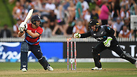 England's Dawid Malan misses the ball as Tim Seifert whips the bails off. New Zealand Black Caps v England.Tri-Series International Twenty20 cricket. Eden Park, Auckland, New Zealand. Sunday 18 February 2018. © Copyright Photo: Andrew Cornaga / www.Photosport.nz