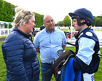 Connections of Mooroverthebridge in the winners enclosure after winning The Shadwell Stud Racing Excellence Apprentice Handicap  during Afternoon Racing at Salisbury Racecourse on 17th May 2018
