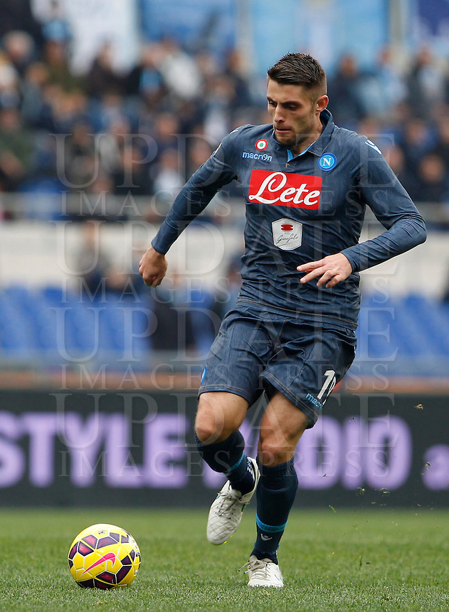 Calcio, Serie A: Lazio vs Napoli. Roma, stadio Olimpico, 18 gennaio 2015.<br /> Napoli&rsquo;s David Lopez Silva in action during the Italian Serie A football match between Lazio and Napoli at Rome's Olympic stadium, 18 January 2015.<br /> UPDATE IMAGES PRESS/Isabella Bonotto