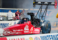 Feb 11, 2019; Pomona, CA, USA; NHRA top fuel driver Doug Kalitta during the Winternationals at Auto Club Raceway at Pomona. Mandatory Credit: Mark J. Rebilas-USA TODAY Sports