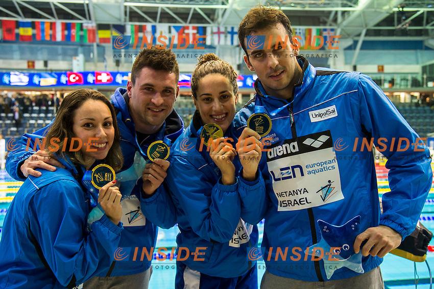 Team Italy ITA Gold Medal CR<br /> 4x50m Freestyle Mixed Final<br /> Netanya, Israel, Wingate Institute<br /> LEN European Short Course Swimming Championships Dec. 2 - 6, 2015 <br /> Netanya 05-12-2015<br /> Nuoto Campionati Europei di nuoto in vasca corta<br /> Photo Giorgio Scala/Deepbluemedia/Insidefoto