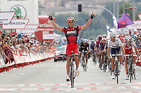 Philippe Gilbert comes winner to the finish line in stage of La Vuelta 2012 beetwen Penafiel-La Lastrilla in presence of Alejandro Valverde, second clasified (r).September 7,2012. (ALTERPHOTOS/Acero) /NortePhoto.com<br /> <br /> **CREDITO*OBLIGATORIO** *No*Venta*A*Terceros*<br /> *No*Sale*So*third* ***No*Se*Permite*Hacer Archivo***No*Sale*So*third