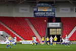 Doncaster Rovers Belles 1 Chelsea Ladies 4, 20/03/2016. Keepmoat Stadium, Womens FA Cup. The scoreboard shows injury time. Photo by Paul Thompson.