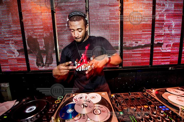 A DJ at his deacks in Vics nightclub.