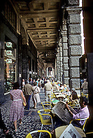 Italy: Bologna--Arcadeo Sidewalk, Cafe. Photo '83.