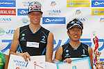 (L to R) Casey Patterson, Koichi Nishimura, MAY 6, 2012 - Beach Volleyball : JBV Tour 2012 Sports Club NAS Open  Men's victory ceremony at Odaiba Beach, Tokyo, Japan. (Photo by Yusuke Nakanishi/AFLO SPORT) [1090]