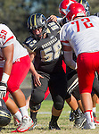 Palos Verdes, CA 10/24/14 - Kevin Cavender (Peninsula #58)in action during the Redondo Union - Palos Verdes Peninsula CIF Varsity football game at Peninsula High School.