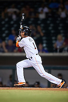 Mesa Solar Sox Yefri Perez (1), of the Miami Marlins organization, during a game against the Salt River Rafters on October 22, 2016 at Sloan Park in Mesa, Arizona.  Salt River defeated Mesa 7-2.  (Mike Janes/Four Seam Images)