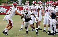 NWA Democrat-Gazette/DAVID GOTTSCHALK   Arkansas Razorback defensive back Ryan Pulley goes through drills Tuesday, August 1, 2017, during practice on campus in Fayetteville.