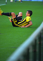 Wellington's Andrija Kaluderovic goes down injured during the A-League football match between Wellington Phoenix and Adelaide United at Westpac Stadium in Wellington, New Zealand on Saturday, 27 January 2018. Photo: Dave Lintott / lintottphoto.co.nz