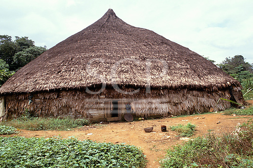 Roraima, Brazil. A Yano, traditional Indian family house built of wood and palm thatch.