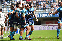 The Montpellier team celebrates during the Top 14 match between Montpellier and Brive at  on October 1, 2017 in Montpellier, France. (Photo by Alexandre Dimou/Icon Sport)