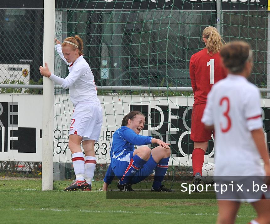 UEFA Women's Under 17 Championship - Second Qualifying round - group 1 : England - Iceland : .vreugde bij Sandra Jessen na de 0-1 voor Ijsland.foto DAVID CATRY / Vrouwenteam.be