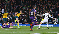 2nd November 2019; Hampden Park, Glasgow, Scotland; Scottish League Cup Football, Hibernian versus Celtic; Scott Brown of Celtic scores in the 90th minute to make it 5-2 to Celtic - Editorial Use