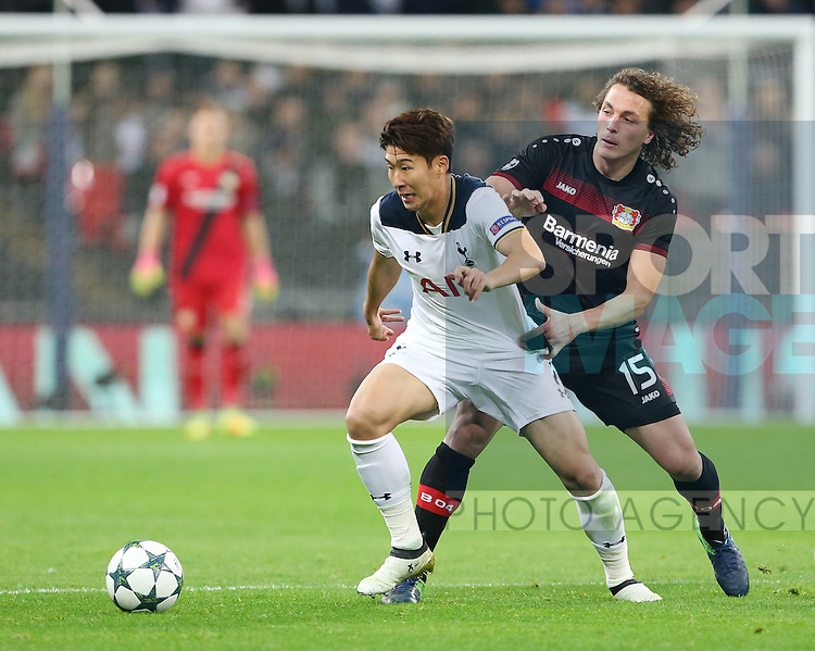 Tottenham's Heung-Min Son tussles with Leverksen's Julian Baumgartlinger during the Champions League group E match at the Wembley Stadium, London. Picture date November 2nd, 2016 Pic David Klein/Sportimage