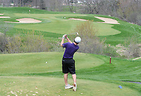 Waunakee's Tyler Riesen tees off at University Ridge Golf Course, during the Morgan Stanley Shootout on Thursday, May 8, 2014, in Madison, Wisconsin