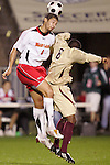 14 November 2008: Maryland's Omar Gonzalez (4) and Boston College's Edvin Worley (6). The University of Maryland defeated Boston College 1-0 at WakeMed Stadium at WakeMed Soccer Park in Cary, NC in a men's ACC tournament semifinal game.