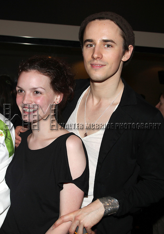 Jennifer Damiano & Reeve Carney.during the 'Spider-Man Turn Off The Dark' Opening Night Gypsy Robe Ceremony for Recepient Luther Creek at the Foxwoods Theatre in New York City.