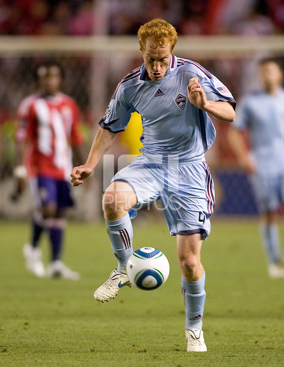 Newly signed Colorado Rapids midfielder Jeff Larentowicz with the ball. The Colorado Rapids defeated the Chivas USA 1-0 at Home Depot Center stadium in Carson, California on Friday evening March 26, 2010.  .