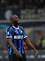 Calcio, Serie A: Inter Milano - Hellas Verona, Giuseppe Meazza stadium, November 9, 2019.<br /> Inter's Romelu Lukaku reacts during the Italian Serie A football match between Inter and Hellas Verona at Giuseppe Meazza (San Siro) stadium, on November 9, 2019.<br /> UPDATE IMAGES PRESS/Isabella Bonotto