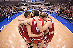 07 MAY: Ohio State University teammates gather in a huddle before taking on Brigham Young University for the Division I Men's Volleyball Championship held at Rec Hall on the Penn State University campus in University Park, PA. Ohio State defeated BYU 3-1 for the national title. Ben Solomon/NCAA Photos