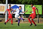 2018-07-14 / Voetbal / Seizoen 2018-2019 / FC Kontich - KFCO Beerschot Wilrijk / Octavio Merlo (l. B-W) met Raphael Quarcoo<br /> <br /> ,Foto: Mpics