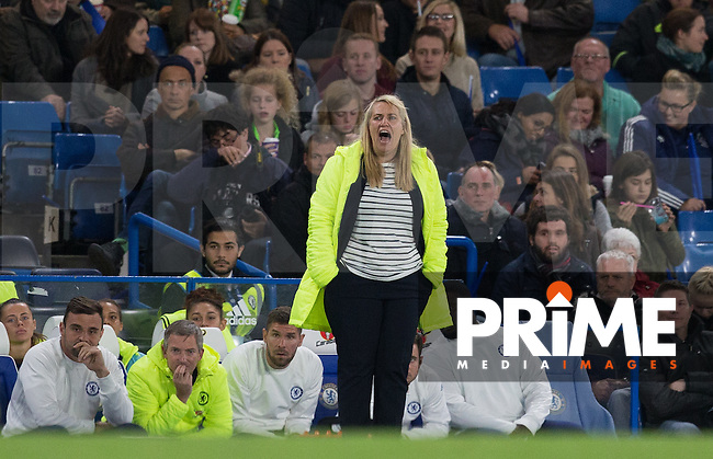 Chelsea Ladies Manager Emma Hayes during the UEFA Women's Champions League match between Chelsea Ladies and VfL Wolfsburg at Stamford Bridge, London, England on 5 October 2016. Photo by Andy Rowland.
