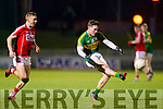 Greg Horan Kerry in action against Sean White Cork in the U-21 Munster Football Final at Austin Stack Park, Tralee on Thursday evening.