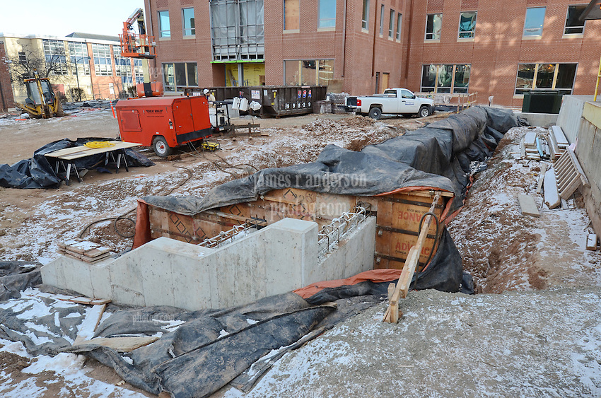 Central Connecticut State University.  New Academic Building.  Project No: BI-RC-324.Architect: Burt Hill Kosar Rittelmann Associates    Contractor: Gilbane Building Company, Glastonbury, CT..James R Anderson Photography   New Haven CT   photog.com.Date of Photograph: 22 January 2013   Image No. 07.Camera View: Southeast. Overview of work at East Elevation of Barnard Hall. Loading Dock area.