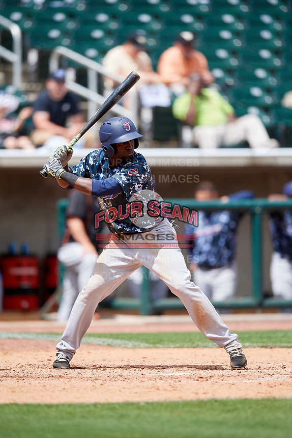 Jacksonville Jumbo Shrimp left fielder Jeremias Pineda (20) at bat during a game against the Birmingham Barons on April 24, 2017 at Regions Field in Birmingham, Alabama.  Jacksonville defeated Birmingham 4-1.  (Mike Janes/Four Seam Images)