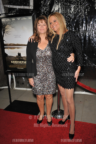 "Betty Anne Waters & Abra Rice (right) at the premiere of their new movie ""Conviction"" at the Academy of Motion Picture Arts & Sciences in Beverly Hills..October 5, 2010  Los Angeles, CA.Picture: Paul Smith / Featureflash"